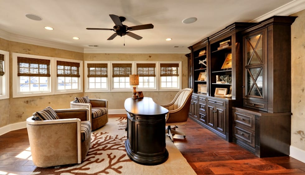 Baseboards And Ceiling Fan Traditional Home Office