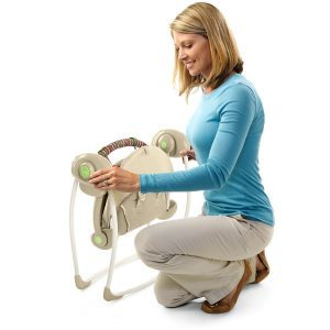 women folding portable swing